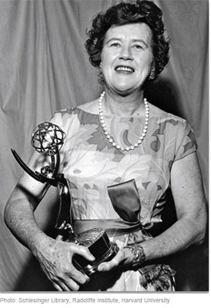Julia holding her 1966 Emmy® Award for The French Chef